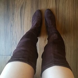 Faux Suede Over-the-Knee Brown Boots